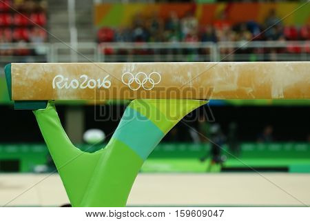 RIO DE JANEIRO, BRAZIL - AUGUST 15, 2016: Balance beam at Rio Olympic Arena during Rio 2016 Olympic Games