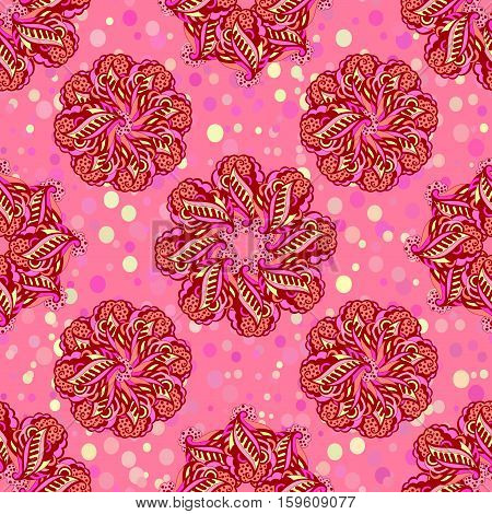 Abstract Tile Seamless Background, Ornament with Symbolical Colorful Floral Patterns.