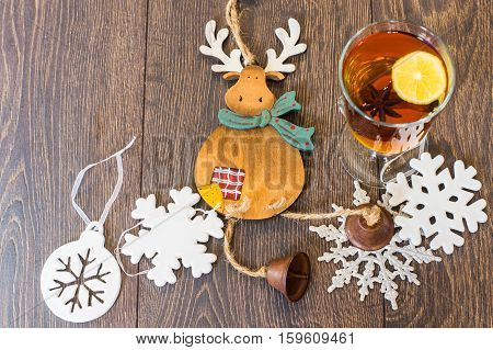Spiced Tea On Rustic Background