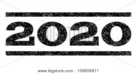 2020 watermark stamp. Text tag between horizontal parallel lines with grunge design style. Rubber seal black stamp with dirty texture. Vector ink imprint on a white background.