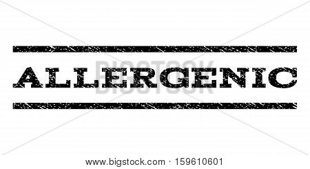 Allergenic watermark stamp. Text caption between horizontal parallel lines with grunge design style. Rubber seal black stamp with scratched texture. Vector ink imprint on a white background.