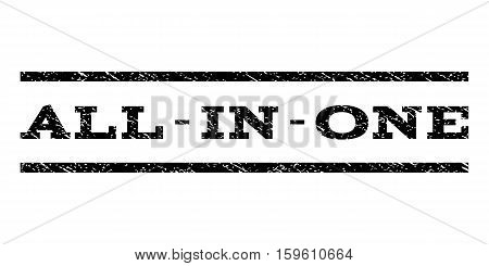All-In-One watermark stamp. Text tag between horizontal parallel lines with grunge design style. Rubber seal black stamp with dirty texture. Vector ink imprint on a white background.