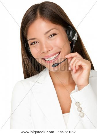 Headset. Customer service operator woman with headset smiling looking at camera. Beautiful mixed race Asian Caucasian call center woman isolated on white background.