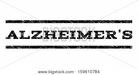 Alzheimer'S watermark stamp. Text caption between horizontal parallel lines with grunge design style. Rubber seal black stamp with scratched texture. Vector ink imprint on a white background.