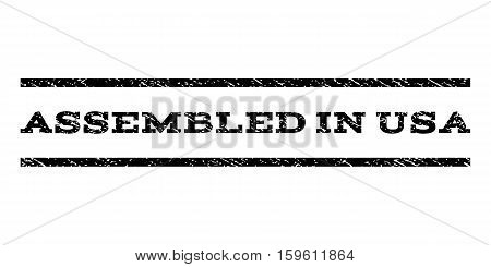 Assembled In USA watermark stamp. Text caption between horizontal parallel lines with grunge design style. Rubber seal black stamp with unclean texture. Vector ink imprint on a white background.
