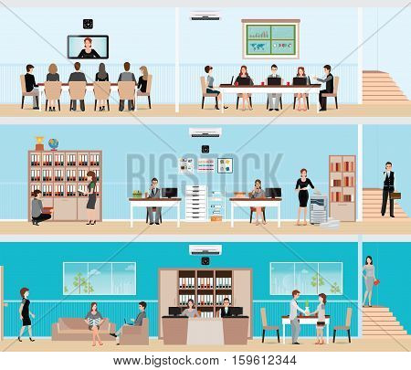 Business people in the interior of the building meeting room or conference room business flat design vector illustration.