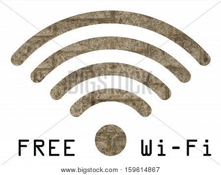 Free WIFI sign with old stonework wall visible through graphics on white background