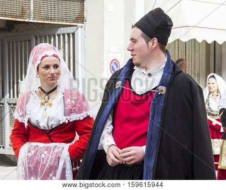 CAGLIARI, ITALY - May 1, 2013: 357 Religious Procession of Sant'Efisio - Sardinia - portrait of a couple in traditional Sardinian costume
