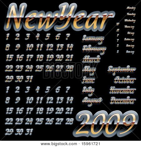 Calendar set 2009, metal letters. Elements for calendar grid