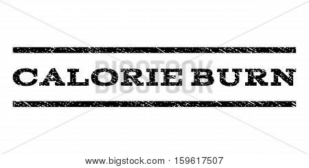 Calorie Burn watermark stamp. Text caption between horizontal parallel lines with grunge design style. Rubber seal black stamp with unclean texture. Vector ink imprint on a white background.