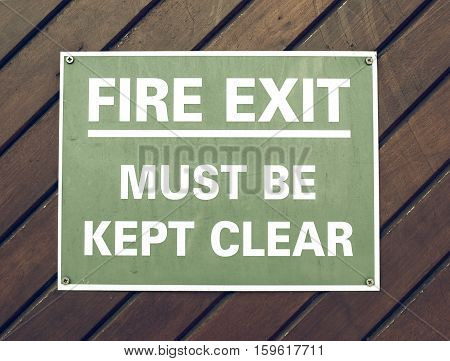 Vintage Looking Fire Exit Sign