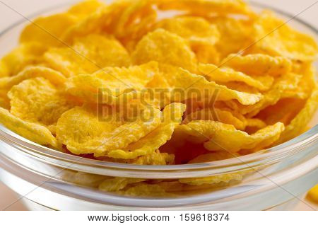 View Close-up On A Glass Bowl With Corn Flakes