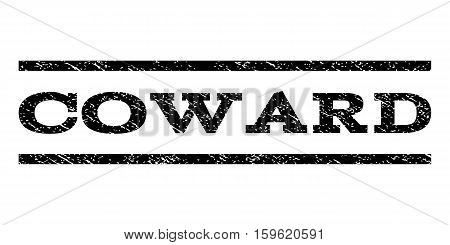 Coward watermark stamp. Text tag between horizontal parallel lines with grunge design style. Rubber seal black stamp with scratched texture. Vector ink imprint on a white background.