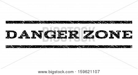 Danger Zone watermark stamp. Text tag between horizontal parallel lines with grunge design style. Rubber seal black stamp with scratched texture. Vector ink imprint on a white background.
