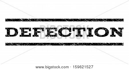 Defection watermark stamp. Text tag between horizontal parallel lines with grunge design style. Rubber seal black stamp with unclean texture. Vector ink imprint on a white background.