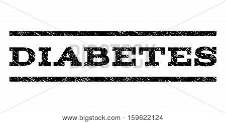 Diabetes watermark stamp. Text tag between horizontal parallel lines with grunge design style. Rubber seal black stamp with scratched texture. Vector ink imprint on a white background.