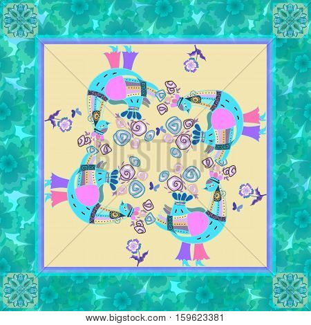 Beautiful bandana print with fantasy birds and floral border. Kerchief square pattern design style for print. Romantic silk neck scarf.