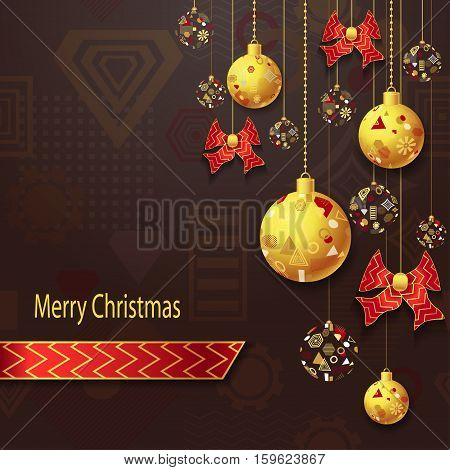 Merry Christmas or New Year background with Christmas balls and bows  in gold red on brown and geometric seamless pattern. Creative Post Card for winter holiday. Vector Stock  Illustration.