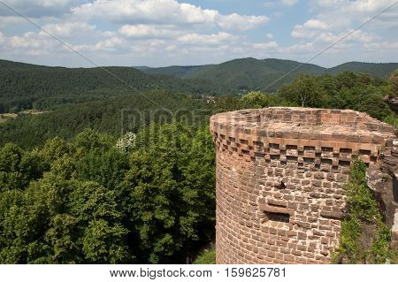 View from the Altdahn Castle / The ruins of Altdahn Castle still show the original strength of this 12th century stronghold in the Palatine hills of Germany. Altdahn is one of three neighbouring castles built in about 1130 AD.