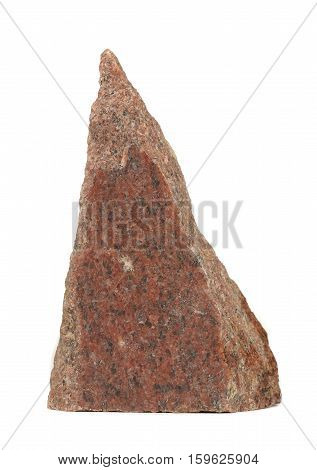 A piece of polished red granite isolated on a white background