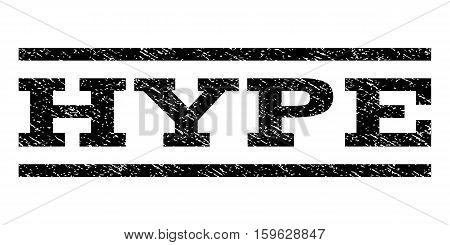 Hype watermark stamp. Text tag between horizontal parallel lines with grunge design style. Rubber seal black stamp with unclean texture. Vector ink imprint on a white background.