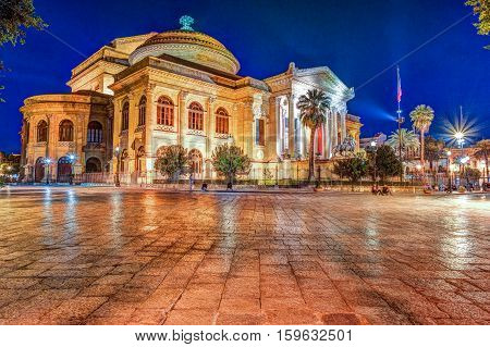 The evening view of Teatro Massimo - Opera and Ballet Theater in Verdi Square, Palermo, Sicily, Italy