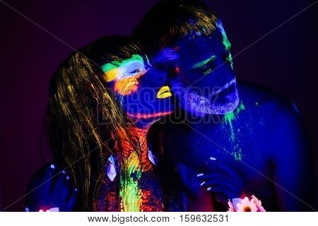 Portrait Of A Pair Of Lovers Painted In Fluorescent Powder