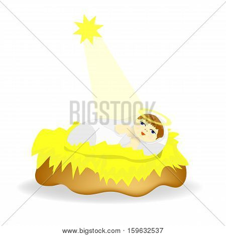 Baby Jesus Christ as crib figure Icon Symbol Design. Vector Christmas illustration isolated on white background