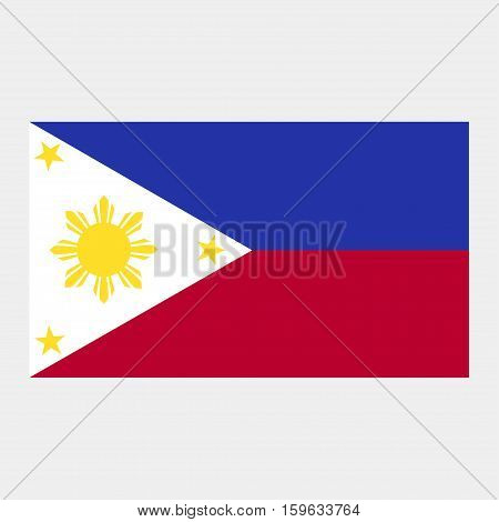Flag of the Philippines on a grey background