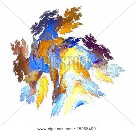 Abstract fractal illustration in yellow and blue gamma. Elegant fractal design. New series of creative elements. Illustration of chaotically twisted colours