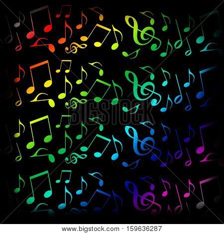 Colorful musical notes design on black background