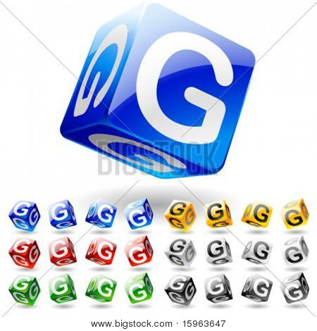 Glossy alphabet on a cubes. Letter g