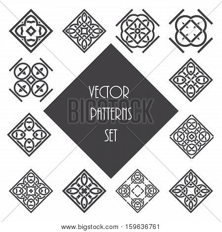 Knot ornament design set. Abstract vector pattern elements.