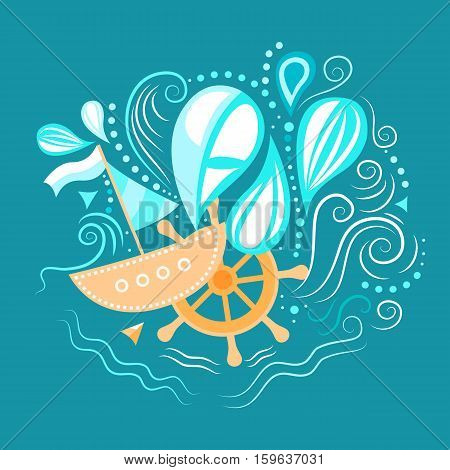 Vector illustration of sea life with boat, helm and waves. Underwater world. The journey by sea. Template for background, print, banner, logo, label, tag, fabric, packaging. Flat design.
