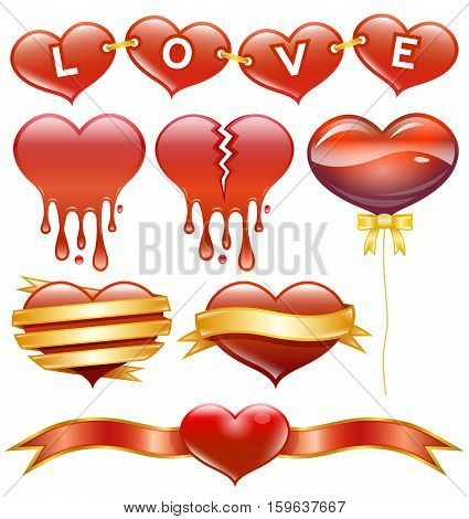 Vector Illustration of Hearts. Best for Love, Wedding, Symbols, Design Elements concept.
