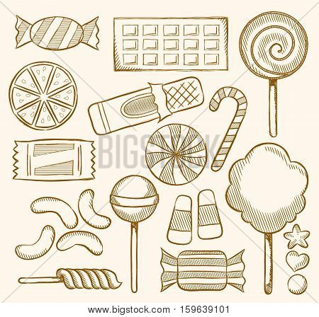 Vector Illustration Doodles of Candies, Sweets, Confectionery.