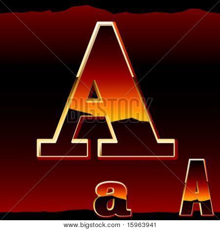 Dramatic dark sunset styled alphabet symbol. Letter a