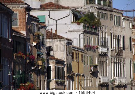 Canalside Houses In Venice