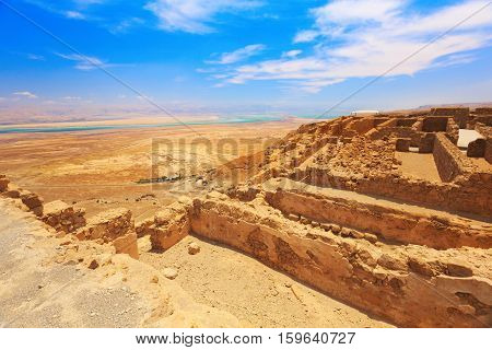 view of ruins of high-rise fortress Masada Israel