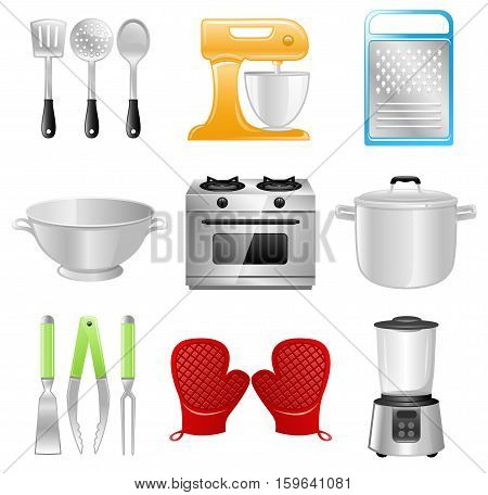 Vector collection of different Kitchen Utensils, Equipment and Appliances. Best for Cooking, Restaurant concept.