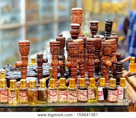 Pushkar, India - November 11, 2016: Tools for smoking cannabis on sale at market in Pushkar, Rajasthan