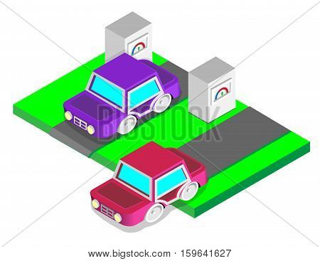 Petrol station for refueling with petrol and car gasVector illustration Isometric view