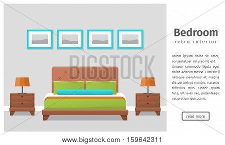 Bedroom design. Banner of retro bedroom interior in flat style. Background. Vector illustration.