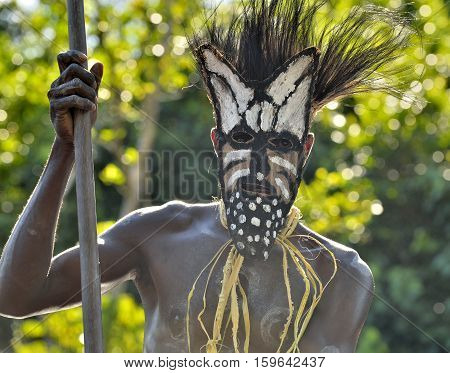 Youw Village, Asmat Region, New Guinea, Indonesia - May 23, 2016: Canoe War Ceremony Of Asmat People