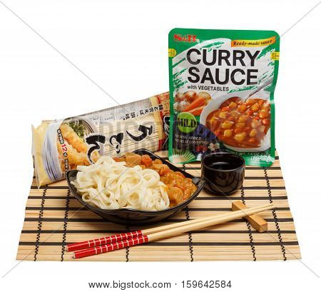 KYIV UKRAINE - October 04 2015. Editorial photo of Curry Sauce With Vegetables Mild by S&B Foods Inc. and Sanuki Udon Noodles by Sanuki Shisei company isolated on white background.