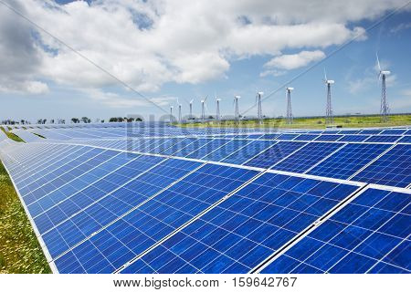 Modern solar station with blue panels and windfarm with wind turbines stand in field with green grass under cloudy sky. Shallow DOF. Focus on foreground.