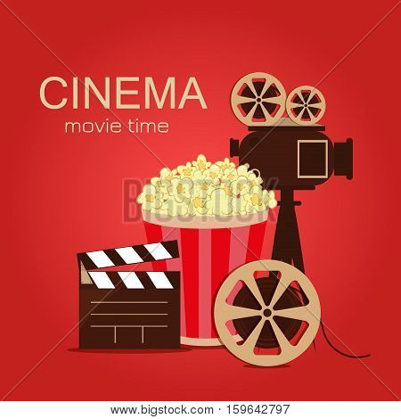 Grunge retro cinema poster. Vector popcorn bowl disposable cup for drinks with straw film strip and ticket. Cinema poster attributes. Detailed vector illustration cinema poster