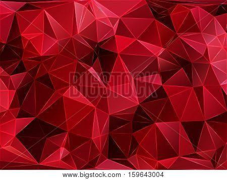 Abstract geometric pattern composed of triangular polygons. Polygon background. Triangulated wallpaper. Triangulated red background. Vector illustration.