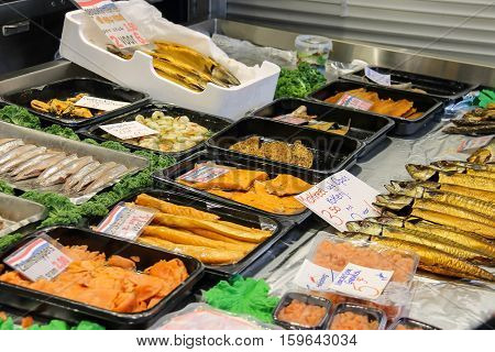 Sale of seafood products in the street market. Utrecht the Netherlands