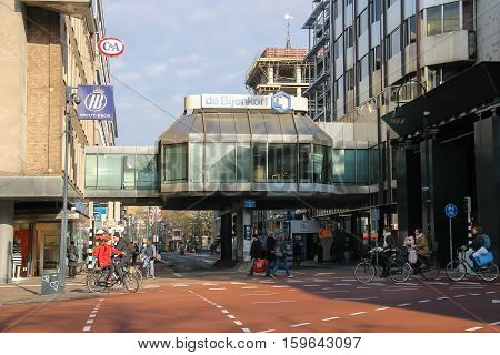 Utrecht the Netherlands - February 13 2016: People in the historic city center
